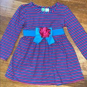 Dollie & Me Blue and Purple Striped Dress, Size 6